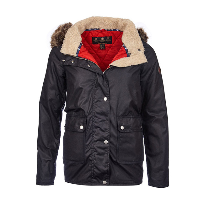 Barbour Women CREVASSE WAX PARKA JACKET Navy / Lighthouse Red  On Sale