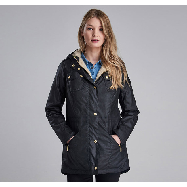 Barbour Women B.INTL FLYWHEEL WAX PARKA JACKET Black / Natural On Sale