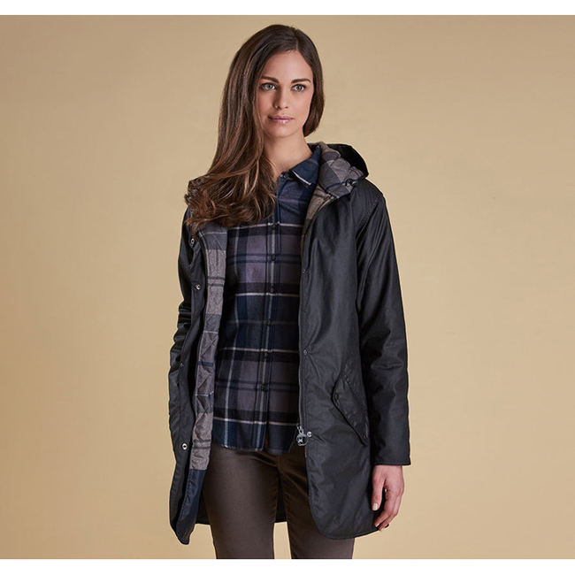 Barbour Women COLL WAX JACKET Black / Navy Winter Tarta  On Sale