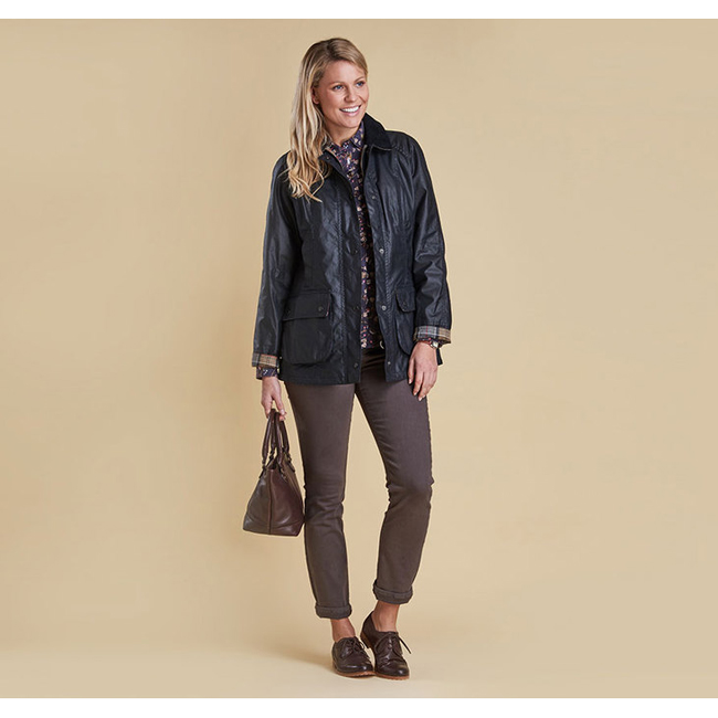 Barbour Women BEADNELL WAX JACKET Navy On Sale